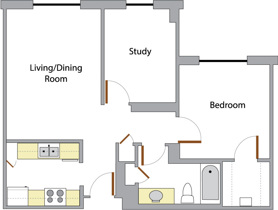 One Bedroom + Study: This is the overhead layout of a one bedroom apartment with a study
