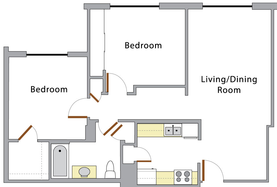 Two Bedroom: This is the overhead layout of a two bedroom apartment