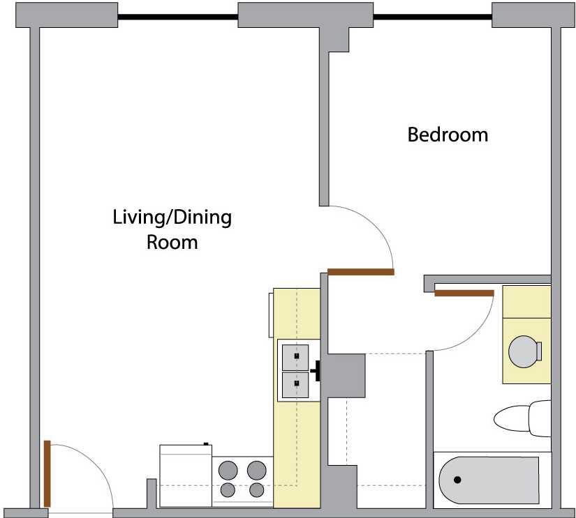 Washington Hall's Unit A floor plan