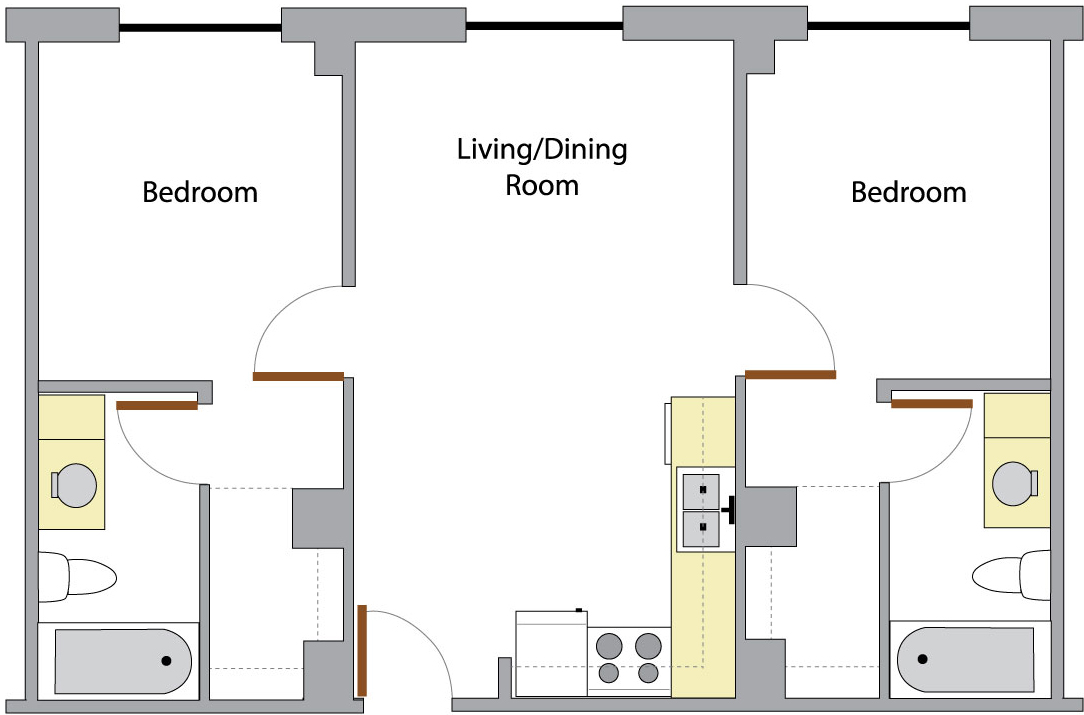 Washington Hall's Unit B floor plan
