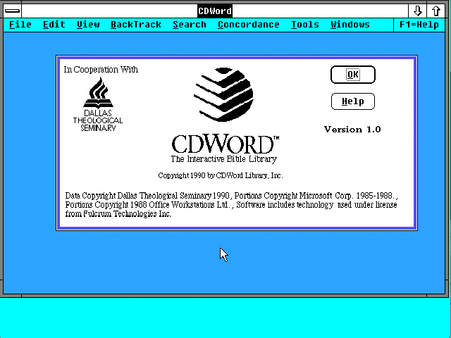 CDWord startup screen